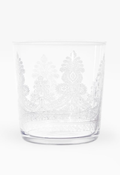 Vaso alto de refresco de vidrio con dibujo floral