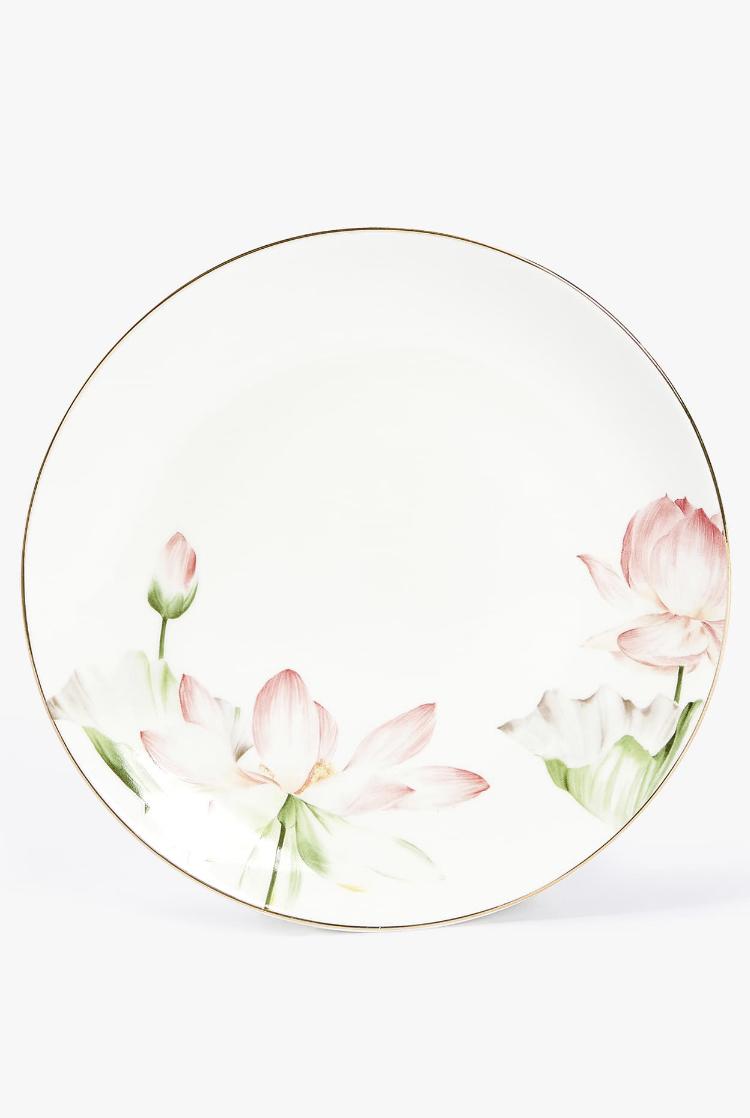 Plato Postre Porcelana Calca Flores