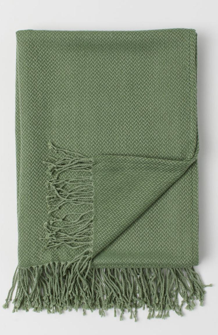 Manta Verde Tejido Jacquard de H&M Home