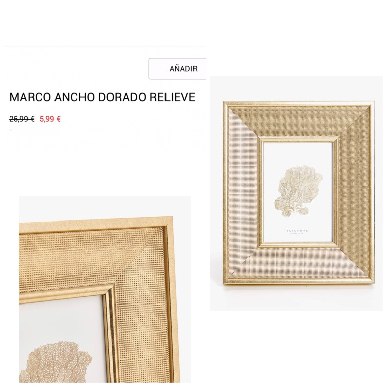 Marco ancho dorado relieve - Zara Home